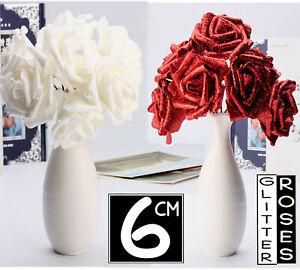 SIZE 6CM FOAM ROSES Glitter Flower With Stem Artificial Wedding Bouquet DECOR UK