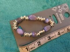 MARKS AND SPENCER LADIES SILVER PLATED BRACELET WITH PURPLE BEADS