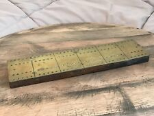 Vintage Brass with Oak Wooden Base Cribbage Board Classic Game 1930's