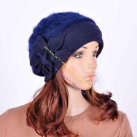 JM32 Rabbit Fur & Wool Women's Winter Hat Beanie Cap Cute Leaf Flowers BLUE