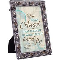 You Are An Angel Matthew 19:26 Jeweled Pewter Colored 5x7 Easel Back Photo Frame