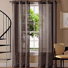 QUICKFIT SHEER EYELET CURTAIN PANEL CHOCOLATE BROWN