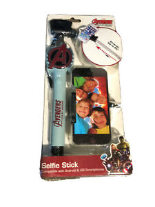 """MARVEL AVENGERS 40"""" SELFIE STICK FOR ANDROID & IOS SMARTPHONES CRADLE NEW!"""
