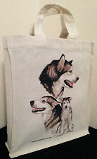 Alaskan Malamute Natural Cotton Small Fun Party Bag Tote with Gusset Useful Gift