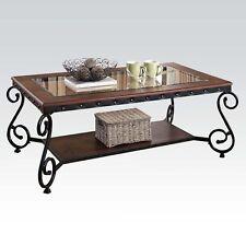 WANETA Cherry Beading Design Metal Frame Glass Top Wood Shelf Coffee Table