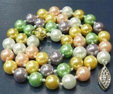 "8 Mm Multicolor Sur Mar Concha Perla Collar 18 ""Aaa"