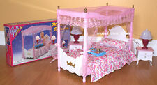 GLORIA DOLLHOUSE FURNITURE Canopy MASTER BEDROOM w/NIGHT LAMPS SET FOR Barbie