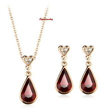 Rose Gold Plated Red Ruby Teardrop Made with Swarovski Crystal Wedding Set XS5