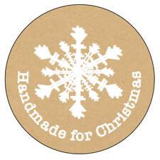 140 x Handmade for Christmas Shabby Snowflake Kraft Effect Favour Stickers 1125