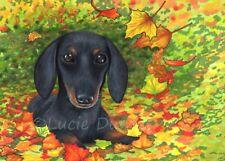 ACEO art print, Dog 142 Dachshund Fall Autumn leaves green orange by L.Dumas