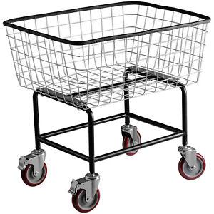 VEVOR Commercial Wire Laundry Basket Cart 2.5 Bushel Heavy Duty w/ 4'' Wheels