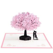 3D Pop Up Cherry Blossoms Lovers Greeting Card Christmas Birthday New Year Cards