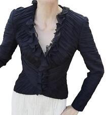 ESCADA black dressy Silk Jacket Blazer Ruffle Sz 34 4 S evening