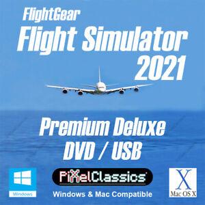 Flight Simulator 2021 X DELUXE FlightGear Aircraft Plane Helicopter Sim DVD USB