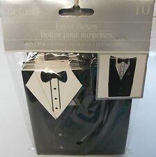 Wedding Celebration Favor Boxes Mens Tuxedo Design Black White Accessory 10 Pack