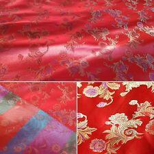 LUSSO Rosso e Dorato Cinese Motivo Floreale in Tessuto 1 M Venditore Regno Unito.