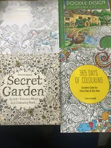COLOURING BOOKS X4 BARGAIN FUN SECRET GARDEN ANIMAL KINGDOM VILLAGE 365 PATTERNS
