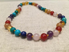 11 inch Baltic Amber Necklace Rainbow Honey Amber Pink Rose Quartz Red
