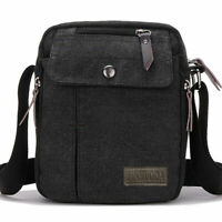 Crossbody Bags Canvas Men Messenger Bags Shoulder Bag Satchel Bag Bookbag-black