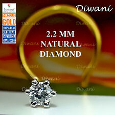 2.2mm Natural i Diamond Solitaire wedding Nose Piercing Ring Stud Pin 14k Gold
