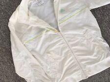 ADIDAS Old School Cream Lined Windbreaker Zip Jacket Top - Mens Size Medium