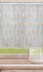 Jacquard 2018 Fertig Gardine Weiß/ Orange  B 450  cm x H 245 cm
