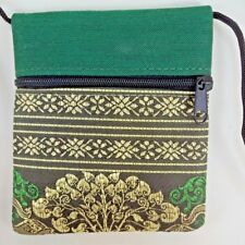 Thai  Fabric  Green Small Shoulder Bag Purse Coin Wallet with Zipper Handcraft