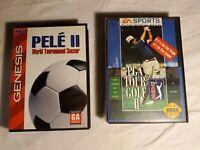 EA Sports PGA Tour 2 & Pele 2 World Tournament Soccer Sega Genesis Game Lot CIB