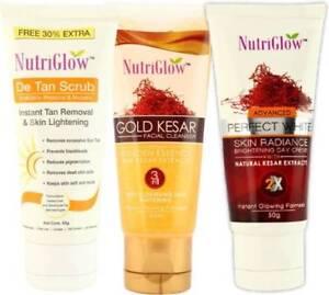 Nutriglow Gold Kesar Cleanser ,De Tan Scrub and Skin Radian Day Cream set of 3