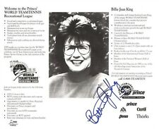 BILLIE JEAN KING SIGNED PRINCE WORLD TEAM TENNIS REC LEAGUE SGC 8x10 PHOTO CARD