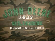JOHN DEERE CAMO T SHIRT Tractor Farmer Nothing Runs Like Camouflage Sewn Youth L