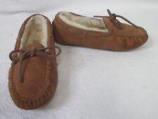 Girl's Ugg 5296 Dakota Chestnut Suede Moccasin Slippers Sz 1 M