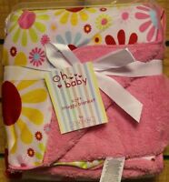 New! Baby Girls Kids Blanket Sherpa Backed Pink Floral Retro Super Soft Luxury