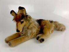 Original 1950-60's Steiff Mohair Reclining Shepard Dog Arco Skinny Raised Button