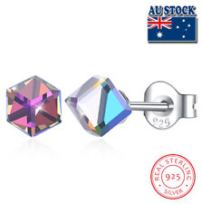 LEKANI Sterling Silver Gold Square Cube Crystal From Swarovski Pin Stud Earrings