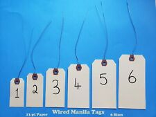 Wire Strung Manila Tags Inventory Hang Label Shipping Sizes # 1 2 3 4 5 6 Wired