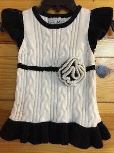 Mud Pie White & Black Rosette Sweater Dress EUC Girls Size 0-6 Months