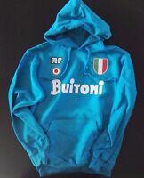 FELPA NAPOLI anni 80 scudetto coppa MARADONA calcio 1987 azzurra con cappuccio