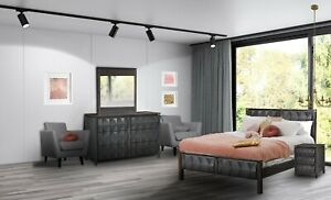 Luxury 5-PC Amish Modern Bedroom Set Solid Wood Queen King Diamond Detail