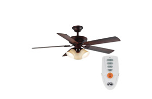 Campbell 52 in. LED Indoor Mediterranean Bronze Ceiling Fan with Light Kit and R