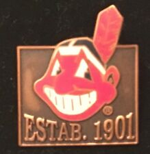 Cleveland Indians Chief Wahoo Established 1901 Collector Pin MLB BANNED LOGO