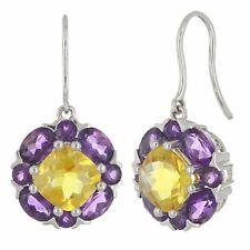 14k White Gold Citrine & Amethyst Gemstone Bouquet Flower Dangle Earrings