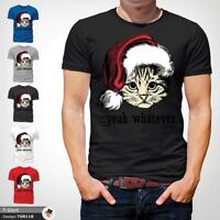 cat whatever christmas t shirt secret santa gift mens all sizes Xmas  Black