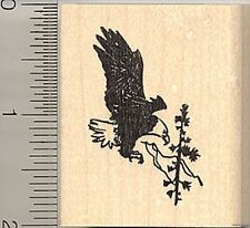 Eagle in flight rubber stamp E9506 Wood Mounted