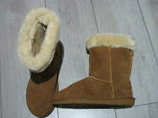 REAL SUEDE, FAUX FUR LADIES BOOTS. UK 5, EU 38. TAN MID CALF LENGTH. HARDY WARN