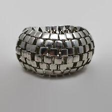 Large Heavy Silver Tone Metal Stretchy Bracelet