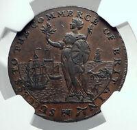 1794 ENGLAND Lincolnshire CONDER TOKEN 1/2 Penny Coin w BRITANNIA NGC i79201