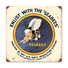 "Vintage Style Retro WWII Era Navy Seabees Enlistment Steel Metal Sign 12"" x 12"""