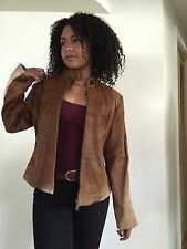 VINTAGE HIPPY BOHO DEER FUR LEATHER COMPANY JACKET COAT WOMEN'S SIZE MEDIUM