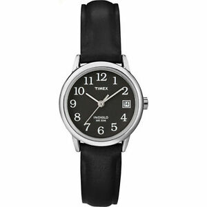 Timex T2N525, Women's Black Leather Easy Reader Watch, Indiglo, Date, 25MM Case